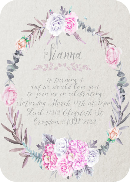 Invite - floral wreath