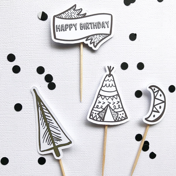 Cake - Camping Out Cupcake Toppers