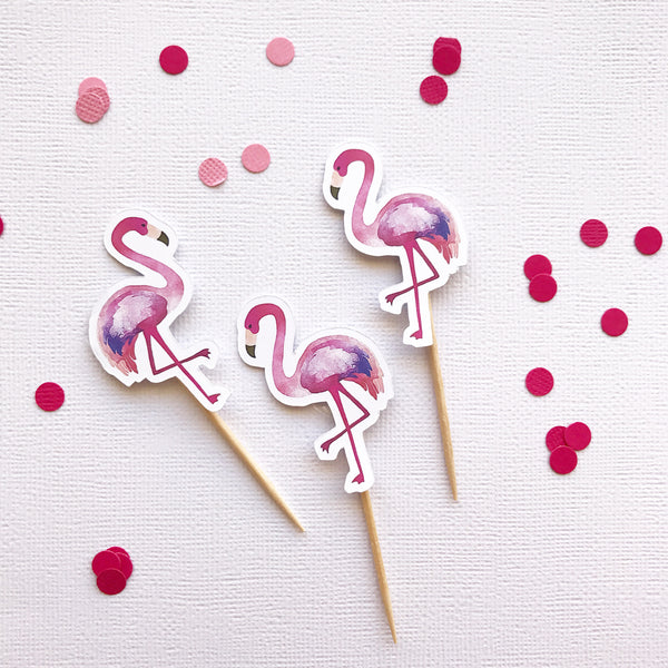 Cake - cupcake toppers - flamingle