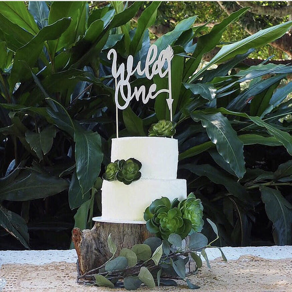 Cake Topper - wild one natural