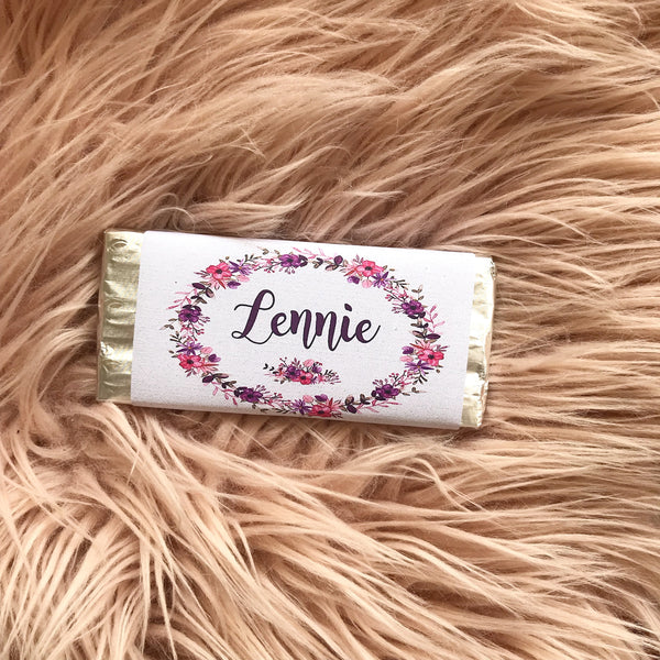 Personalised Chocolate Bar - purple wildflowers