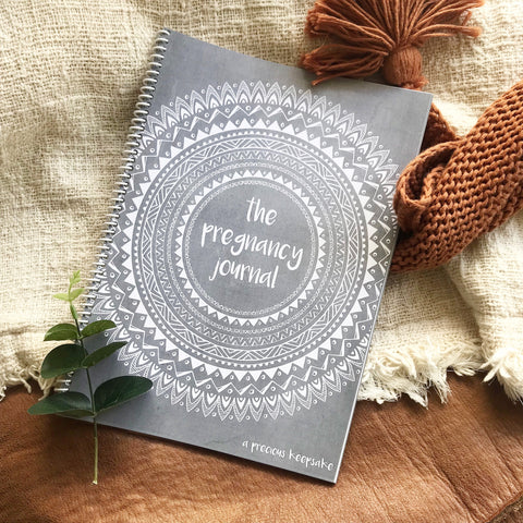 Book - boho pregnancy journal grey texture