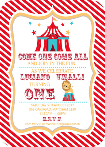 Invite - digital pdf - circus