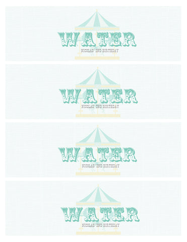 Water Bottle Label - blue vintage circus