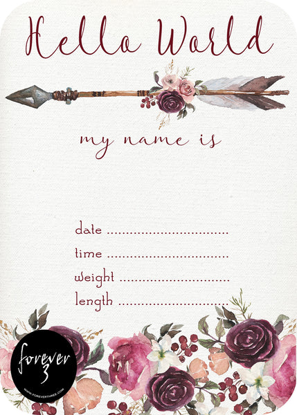 Announcement Card - Floral Arrow