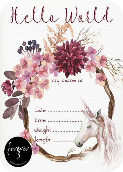 Announcement Card - Unicorn