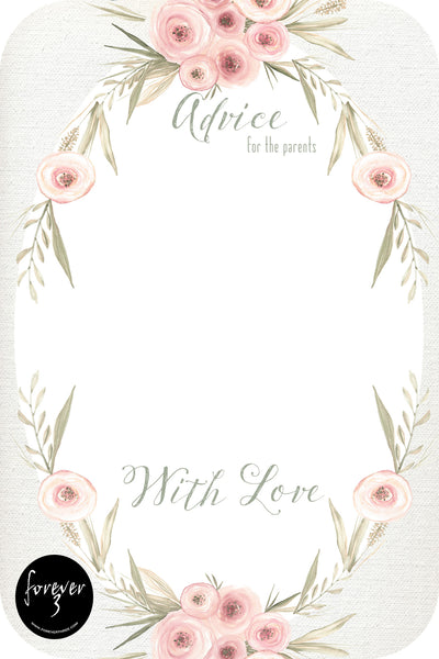 Baby Shower Advice Cards - floral