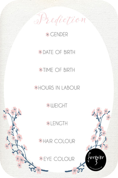 Baby Shower Prediction Cards - dainty floral