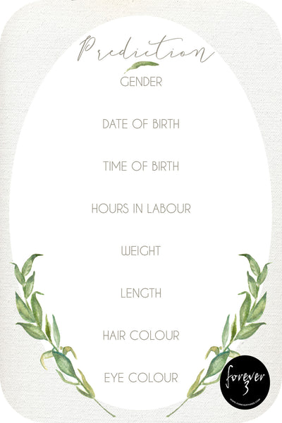 Baby Shower Prediction Cards - natural leaf