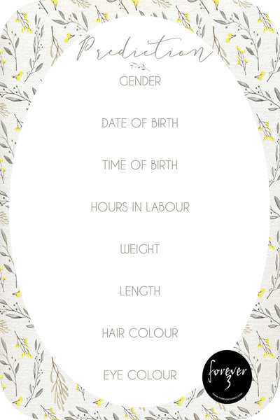 Baby Shower Prediction Cards - wattle