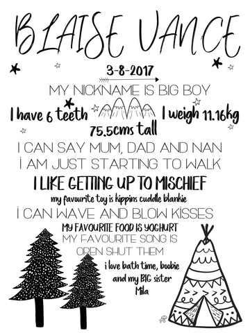 Birthday Milestone Poster - mono mountains
