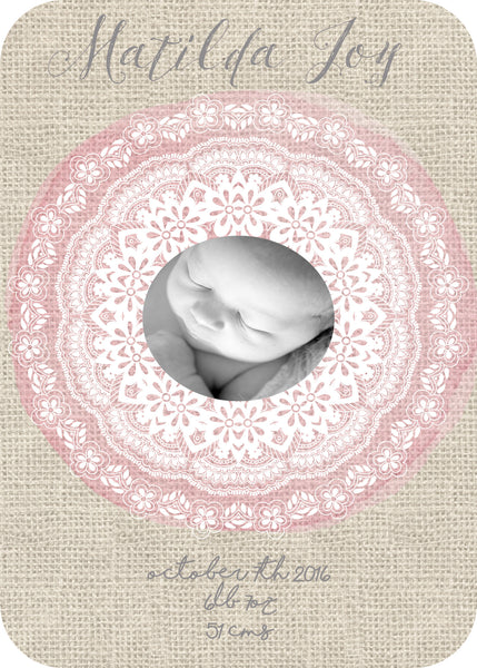 Birth Announcement - bohemian lace