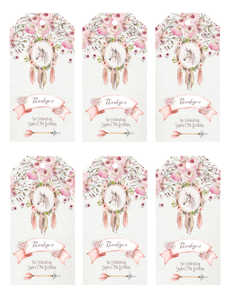Gift Tags - boho unicorn