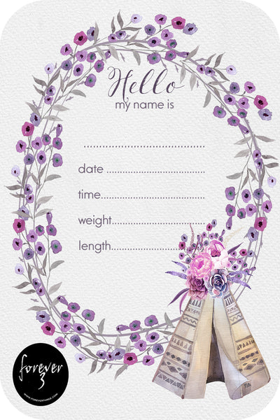 Announcement Card - Botanical Teepee
