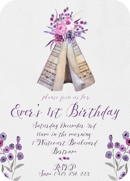 Invite - botanical teepee