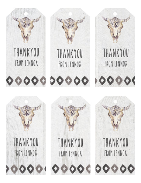 Gift Tags - tribal bullskull