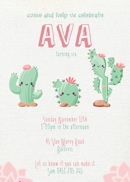 Invite - digital pdf - cactus