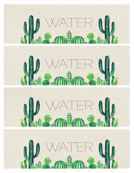 Water Bottle Label - cactus