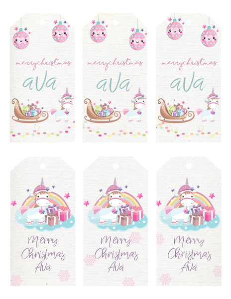 Christmas - gift tags - unicorn
