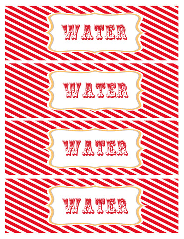 Water Bottle Label - circus