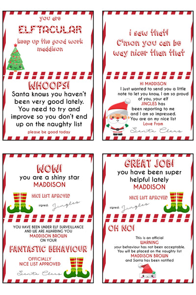 Christmas - Elf on the Shelf - Elf personalised notes
