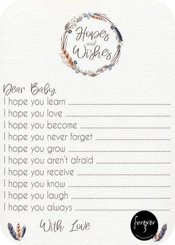 Baby Shower - hopes and wishes for baby - feather