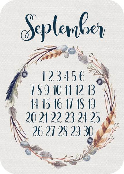 Calendar Month - feathered wreath