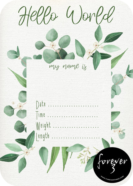 Announcement Card - floral eucalypt