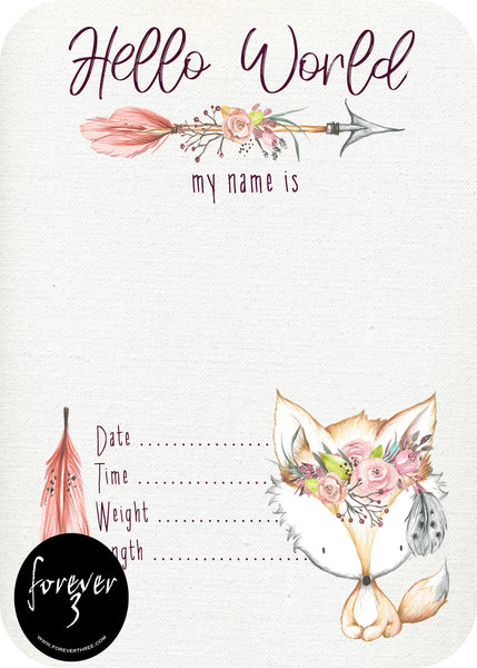 Announcement Card - floral fox