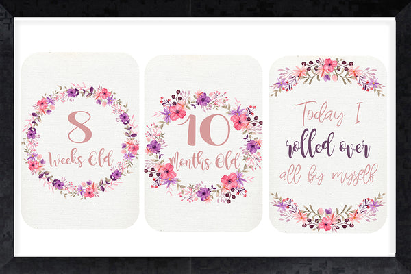 Milestone Cards - purple wildflowers