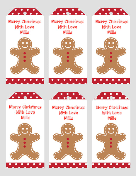 Christmas - gift tags - gingerbread