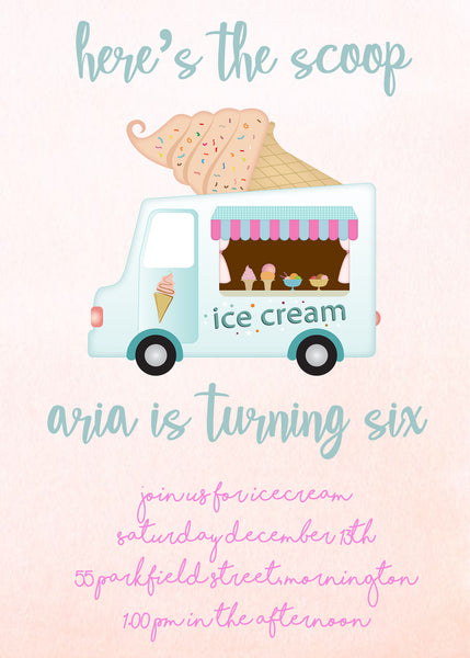Invite - digital pdf - icecream truck