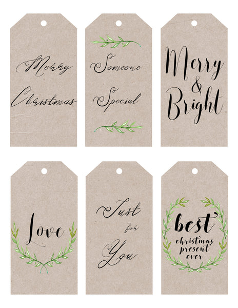 Christmas - gift tags - kraft & leaf