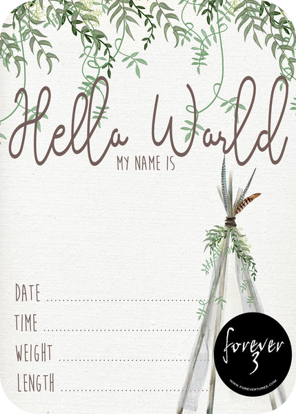 Announcement Card - teepee greenery