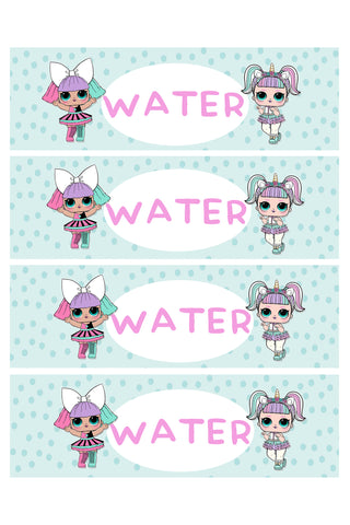 Water Bottle Label - dolls lol