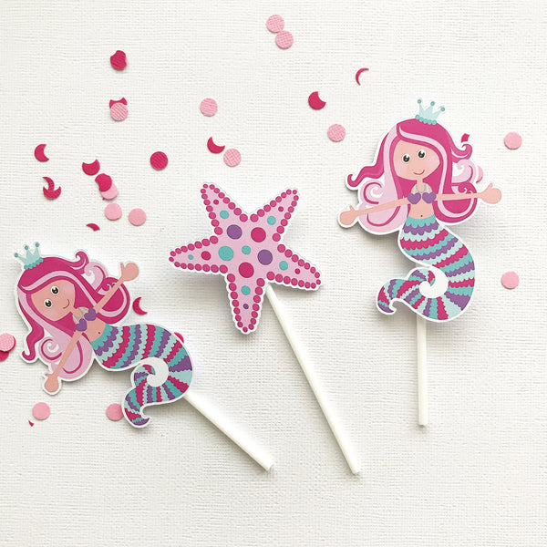 Cake - cupcake toppers - mermaid
