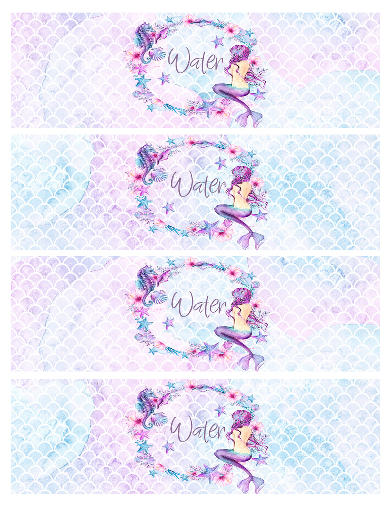 Water Bottle Label Mermaidia Forever3paperie