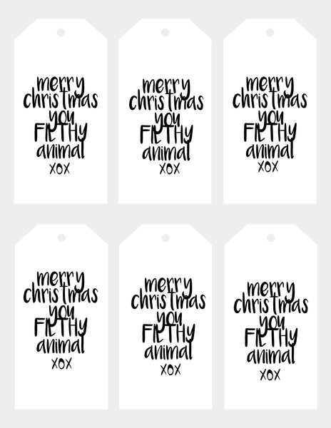 Christmas - gift tags - filthy animal