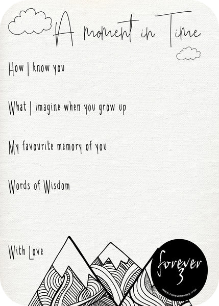 A moment in Time Keepsake cards - mountains
