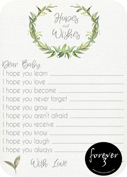 Baby Shower - hopes and wishes for baby - natural