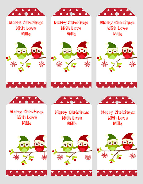 Christmas - digital pdf tags - owls