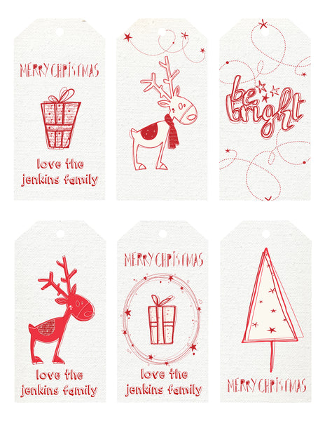 Christmas - gift Tags - red and white doodles