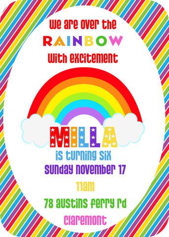 Invite - digital pdf - rainbow 2