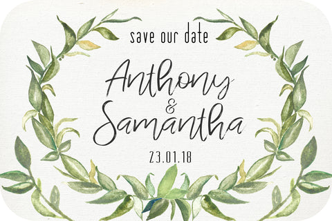 Wedding - Save the Date Cards - leaf wreath