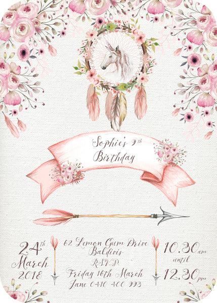 Invite - boho unicorn