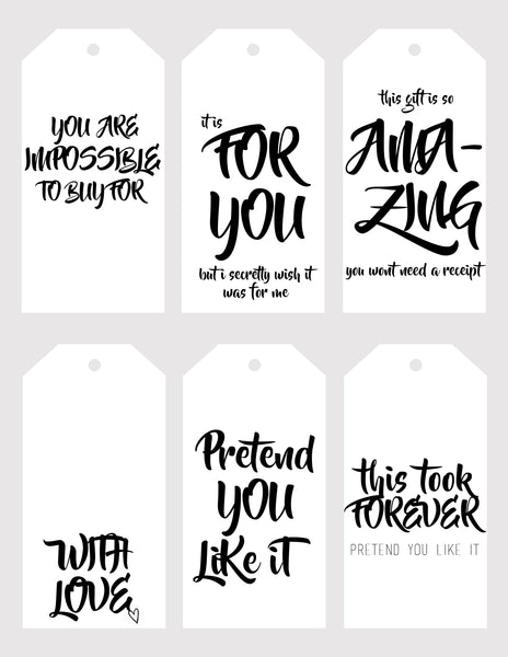 Christmas - gift tags - typography humour