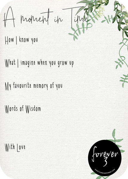 A moment in Time Keepsake cards - vines