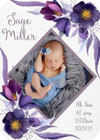 Birth Announcement - violet blooms 2