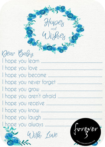 Baby Shower - hopes and wishes for baby - blue floral