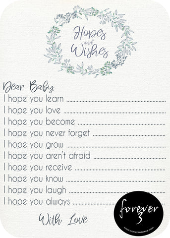 Baby Shower - hopes and wishes for baby - dainty wreath